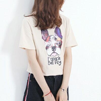 短袖T恤小狗上衣-時尚清新俏皮休閒女打底衫2色73sy1【獨家進口】【米蘭精品】