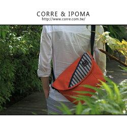 ★CORRE【CG71075】帆布印刷條紋郵差包 ★ 藍色/紅色/橘色共三色