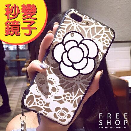 Free Shop:FreeShop蘋果IPHONE67PLUS全系列鏡子山茶花手機殼防摔保護套軟殼附送掛繩【QAAZW7124】