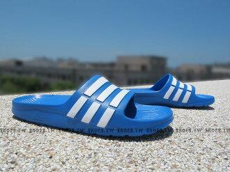 Shoestw【D67479】ADIDAS DURAMO K SLIDE 拖鞋 中童 一體成型 藍白