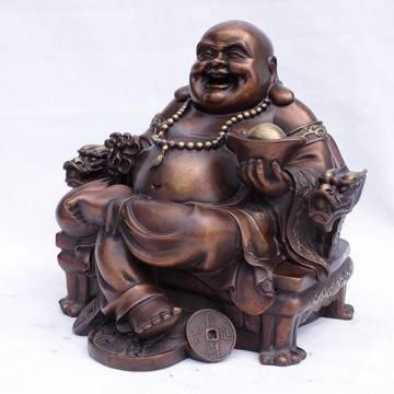 開光古紫銅彌勒佛擺件 銅笑口佛 招財佛大號彌勒銅擺件