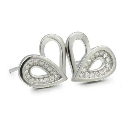 ~925純銀耳環鑲鑽耳飾~優雅大方心形 母親節生日情人節 女飾品2色73dm247~ ~~