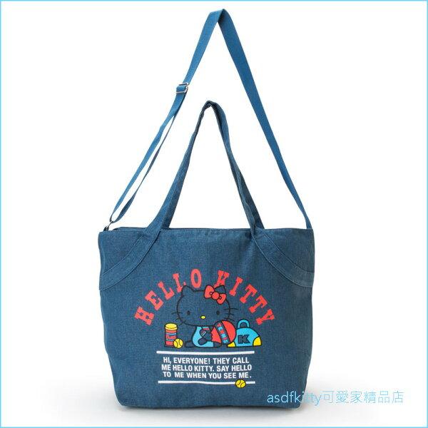 asdfkitty可愛家☆KITTY網球深藍色牛仔布2用大容量手提袋斜背包肩背包購物袋收納包-日本正版商品