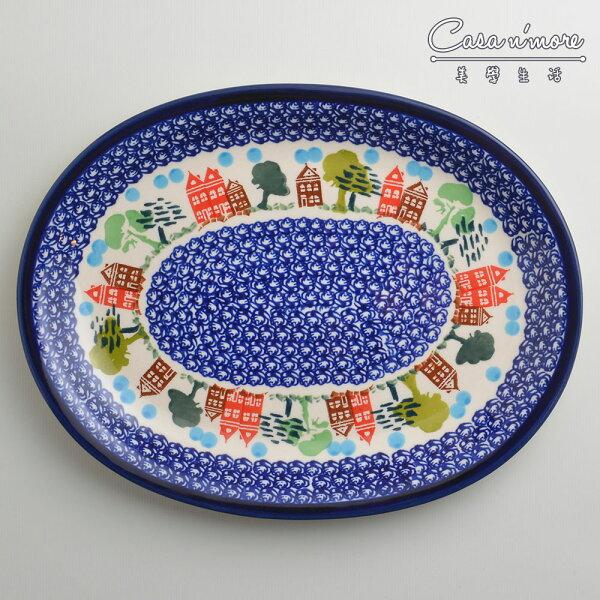 波蘭陶浪漫美屋系列橢圓形餐盤陶瓷盤菜盤水果盤沙拉盤29cm波蘭手工製