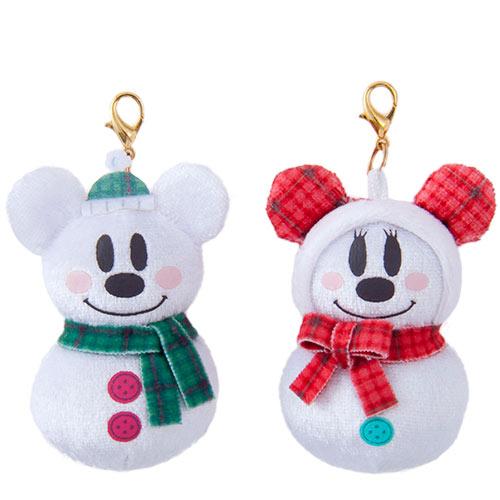 X射線【C916003】日本東京迪士尼代購- 米奇米妮SnowSnow迷你娃娃吊飾組,包包掛飾/鑰匙圈/迪士尼/聖誕限定