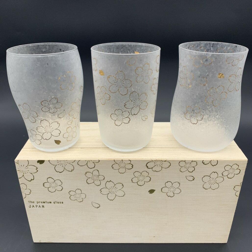 日本製 ADERIA 石塚硝子 櫻花精釀啤酒杯組 3入組(280ml)