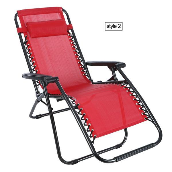 Folding Zero Gravity Reclining Lounge Portable Garden Beach Camping Outdoor Chair 0