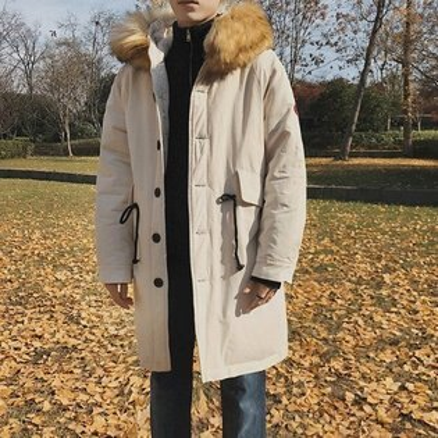 FINDSENSEZ1韓國時尚潮男加厚連帽大毛領衣袖貼標寬鬆棉衣外套
