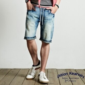 DITION 韓系螺紋復古刷白膝上牛仔短褲