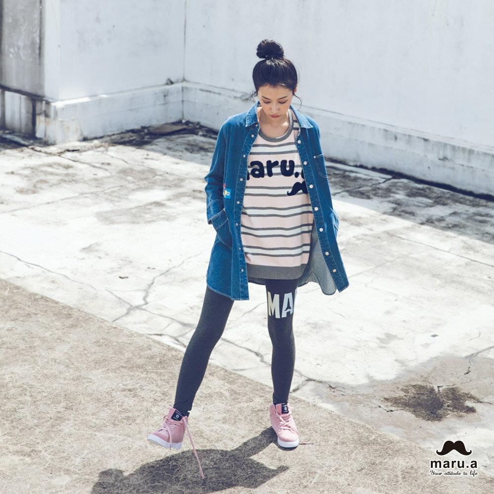 【mini maru.a】童裝親子裝彩色方塊印花長版牛仔襯衫(2色)7953211 2