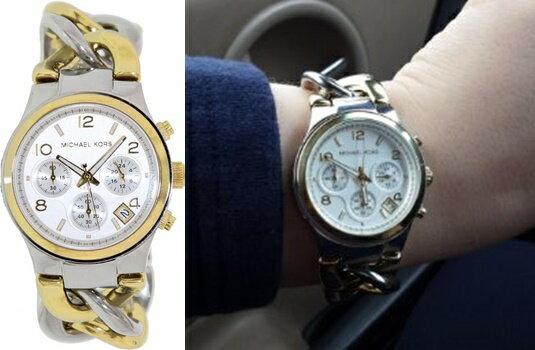 預購 美國正品 Michael Kors 銀配金三眼計時鍊手錶 MK3199