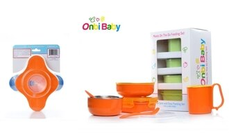 美國 Onbi baby 歐比寶貝 不繡鋼餐具組+餐具吸盤架 亮橘/蘋果綠 2色可選 *夏日微風*
