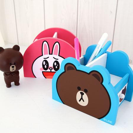 正版LINE 小物抽屜盒 熊大 兔兔 筆筒 置物櫃 置物盒 收納盒 雜物整理 居家收納【N100230】