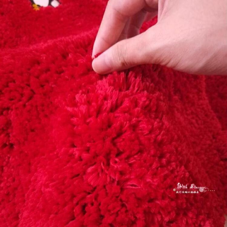 吸水浴墊 大紅色卡通狗狗半圓形浴室吸水腳墊衛生間浴缸擦腳扇形淋浴房門墊【全館免運 限時鉅惠】