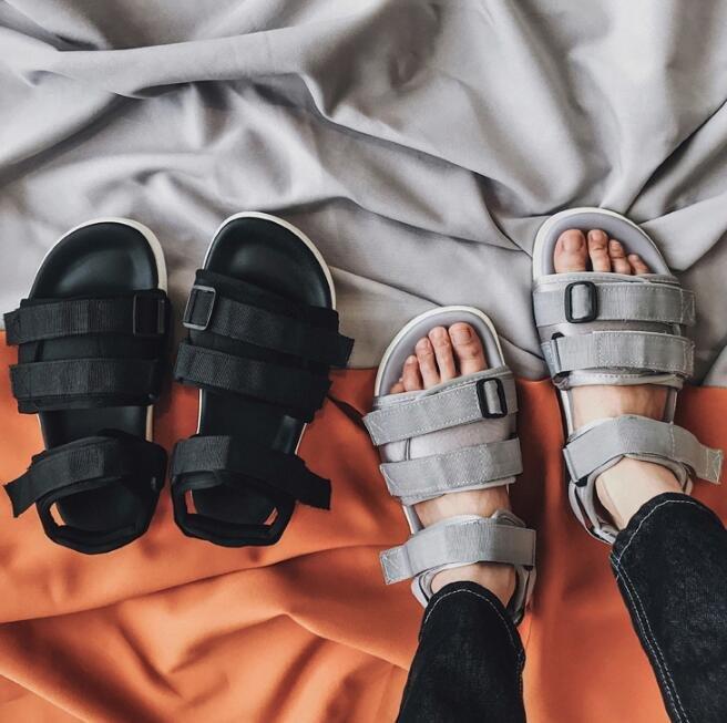 FINDSENSE MD 韓國 時尚休閒 潮 男 透氣 織帶魔術貼涼鞋 男女情侶 涼鞋 拖鞋 海灘鞋