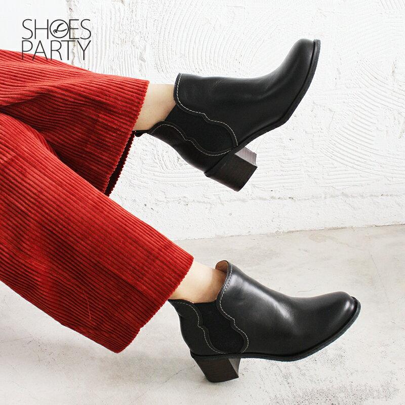 【B2-18722L】葫蘆形鬆緊帶粗跟短靴_Shoes Party 1