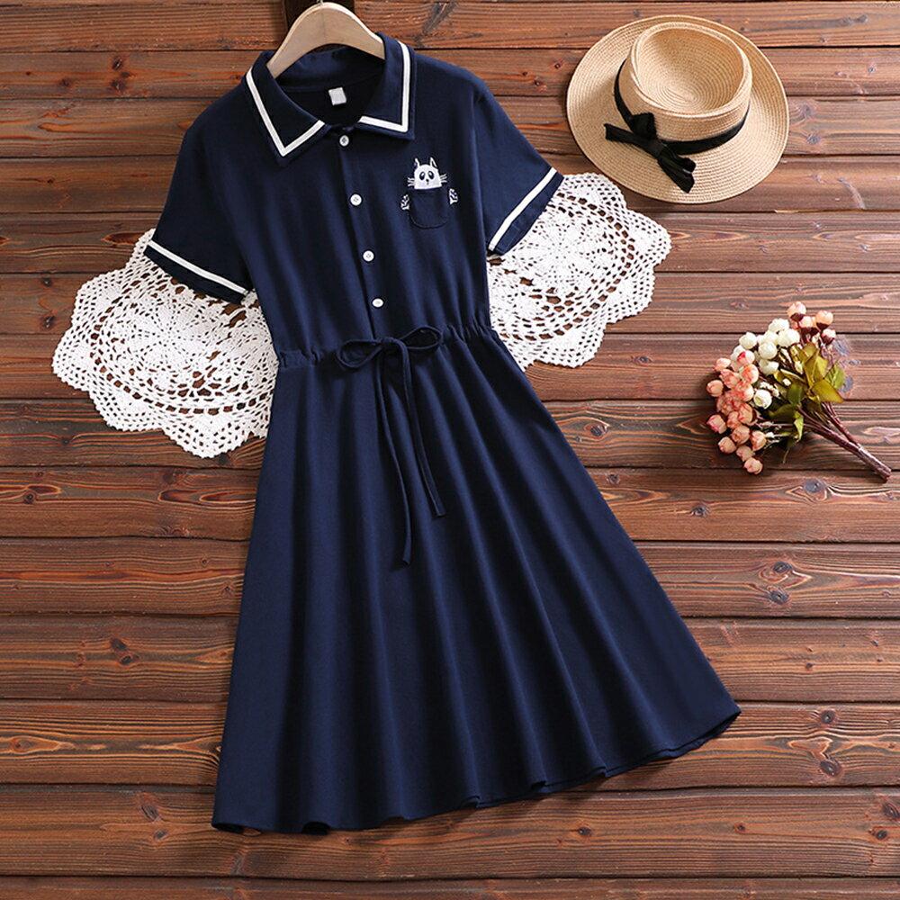日系森女海軍風貓咪刺繡拼接短袖連身裙(藍色S~2XL)*ORead* - 限時優惠好康折扣