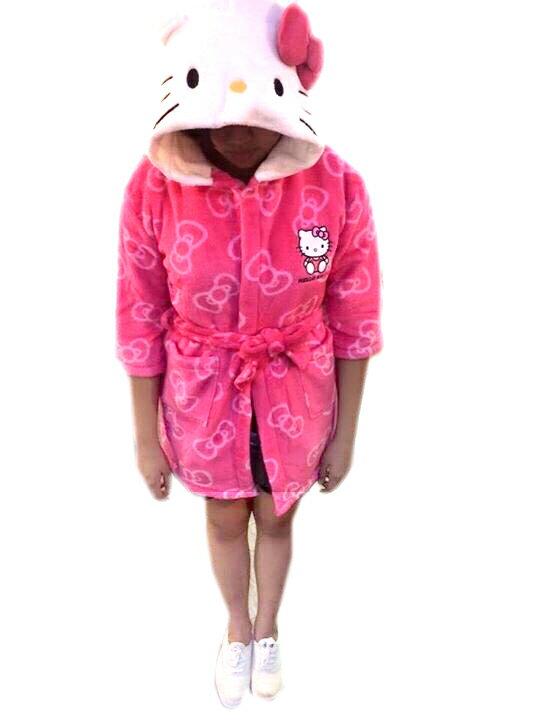 【真愛日本】15091500004 兒童連帽浴袍-多結桃 三麗鷗 Hello Kitty 凱蒂貓 浴袍 浴巾 居家用品