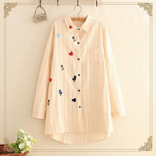 韓版寬鬆中長款刺繡長袖襯衫(3色F碼)【OREAD】 0