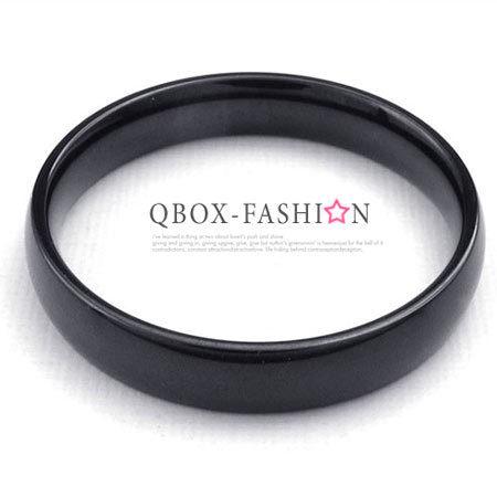 《 QBOX 》FASHION 飾品【W10022926】精緻個性細版素面黑色316L鈦鋼戒指/戒環(0.4cm)