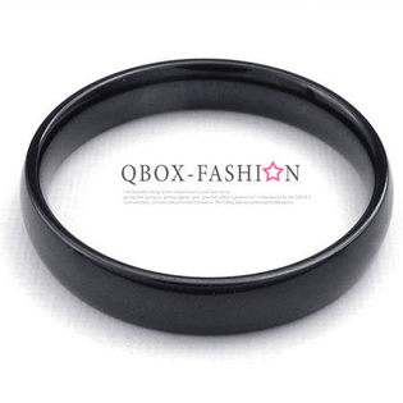 《QBOX》FASHION飾品【W10022926】精緻個性細版素面黑色316L鈦鋼戒指戒環(0.4cm)