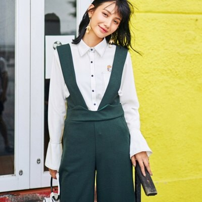 長褲闊腿吊帶褲-韓版時尚寬鬆修飾顯瘦女褲子2色73qv12【獨家進口】【米蘭精品】