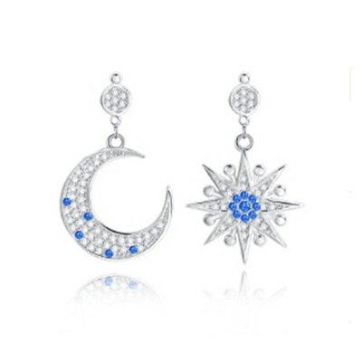 ~925純銀耳環鑲鑽耳飾~精緻小巧星星月亮 生日情人節 女飾品73dz32~ ~~米蘭 ~
