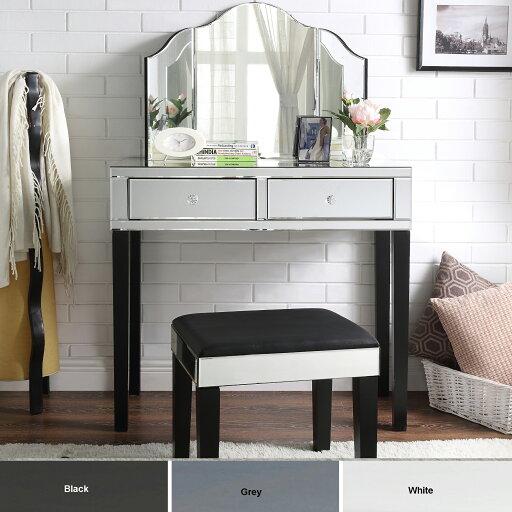 Rosalind 3-Piece Vanity Set - Trifold Mirror Modern Contemporary Elegant Design Inspired Home