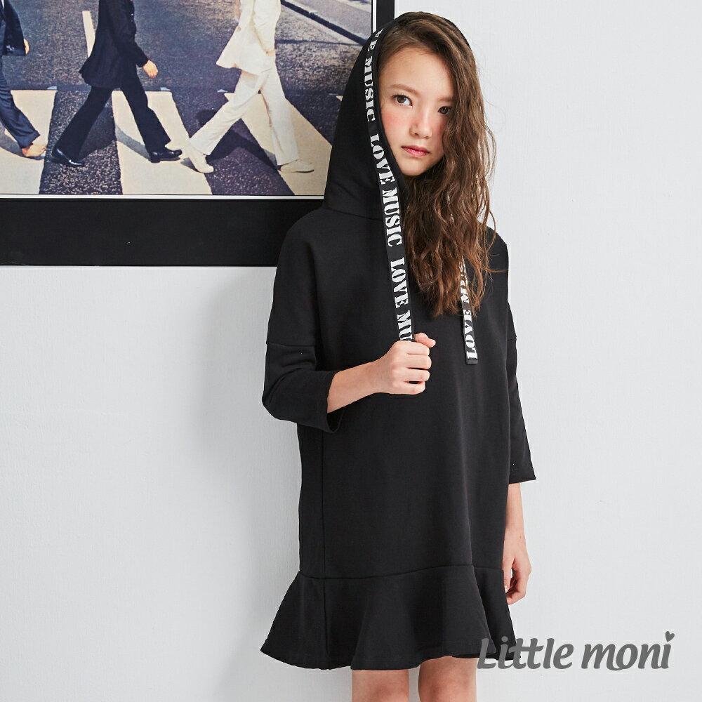 Little moni 織帶連帽洋裝-黑色(好窩生活節) 1