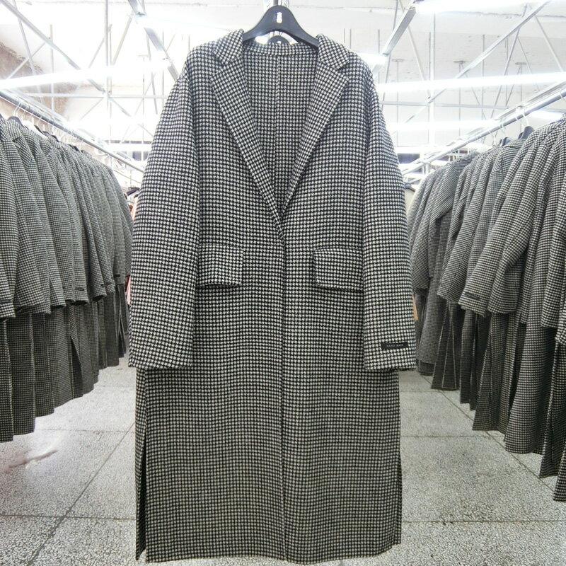 毛呢大衣羊毛外套-長版黑色千鳥格繫帶女外套73wb7【獨家進口】【米蘭精品】 2