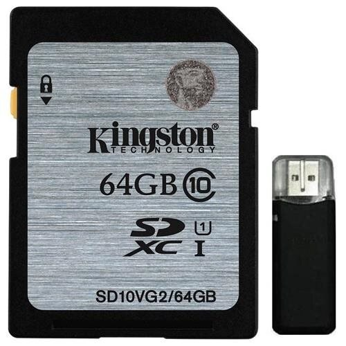 Kingston 64GB SDXC 45MB/s UHS-I U1 Class 10 64G SD C10 full HD Flash Memory Card SD10VG2/64GB + OEM USB 2.0 Card Reader 0
