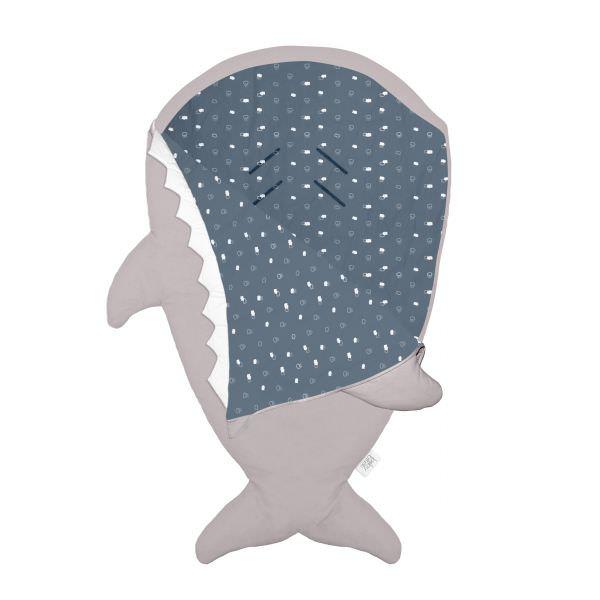 BabyBites 西班牙鯊魚咬一口 嬰兒睡袋(標準版) / 卡其灰-藍底 1