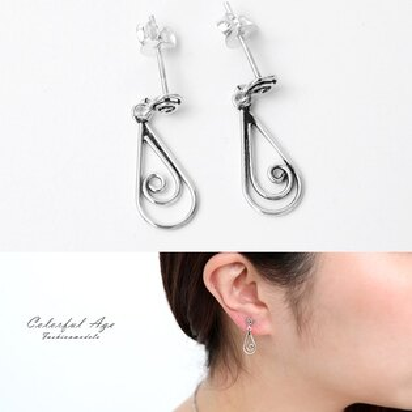 銀飾捲捲線條水滴狀耳環【NPD185】簡單造型