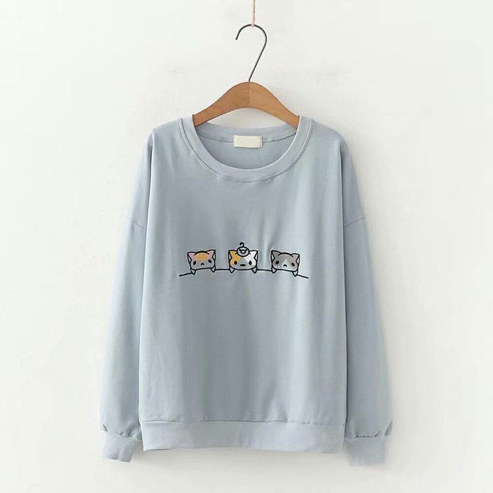 卡通貓刺繡寬鬆長袖圓領衛衣上衣(3色F碼)*ORead* 0