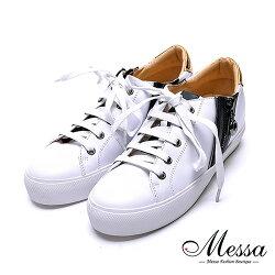 【Messa米莎專櫃女鞋】小羊皮金屬材質拼接運動休閒鞋-白色(現貨+預購)