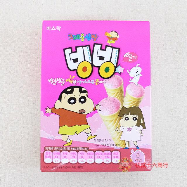 【0216零食會社】韓國_蠟筆小新甜筒餅乾(草莓風味)53.4g_6入