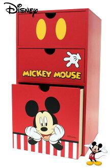【真愛日本】17071700003 直式抽屜置物盒-MK 迪士尼 米老鼠 米奇 米妮 三層抽屜櫃 收納櫃子