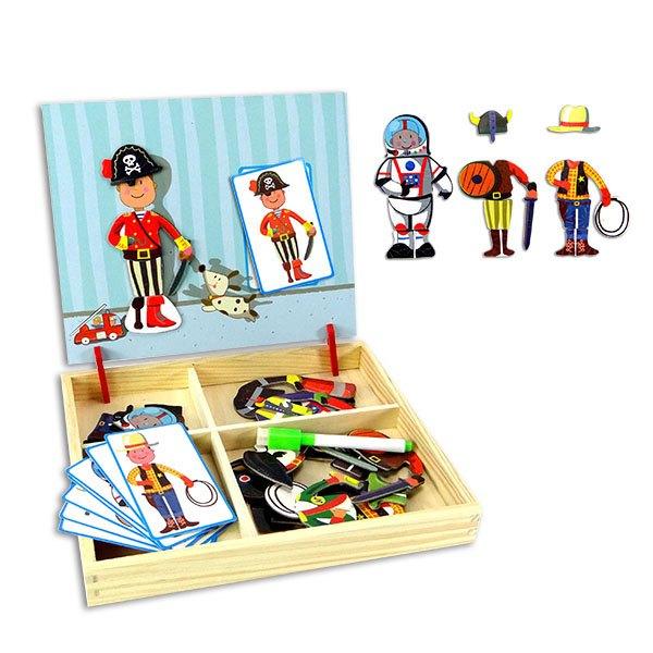 【888便利購】MWZ木製盒裝職業工作服換裝磁貼遊戲組(背面小白板功能)(6028)