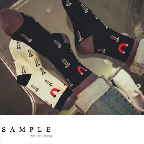 印花【SA14130】圖釘+U型磁鐵短襪【Sample】