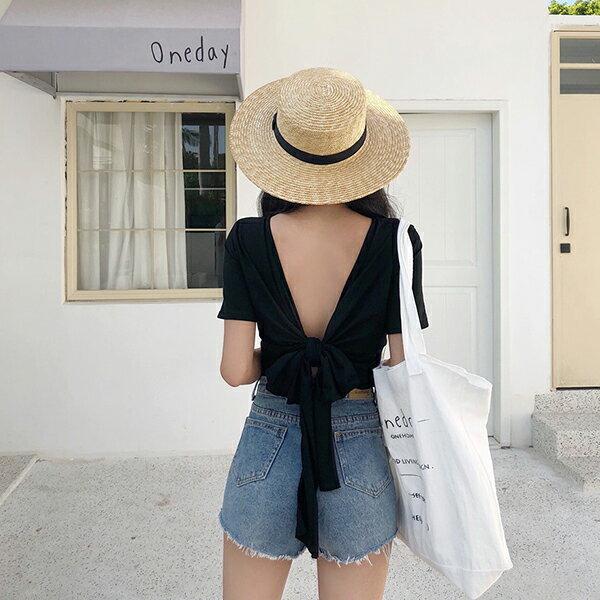 PS Mall 綁帶露背T恤短款個性小心機上衣短袖T恤 【T586】 0