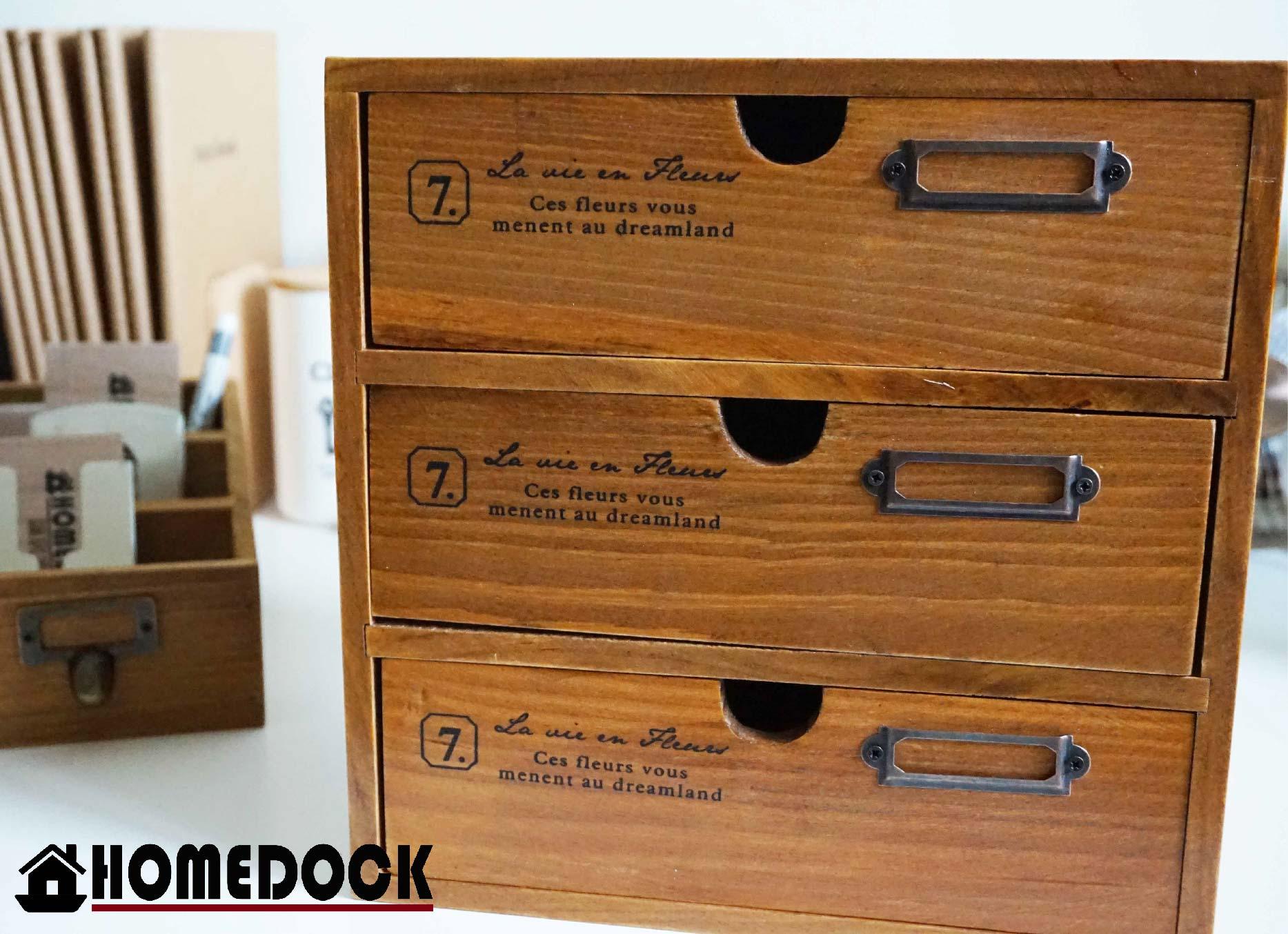 HOMEDOCK-原木質感三層抽屜收納櫃 zakka/三層櫃/木櫃/置物櫃/原木製/層格櫃/木盒