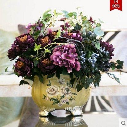 家居飾品歐式複古仿真花套裝牡丹花瓶假花絹花裝飾花客廳家居擺件(圖一)