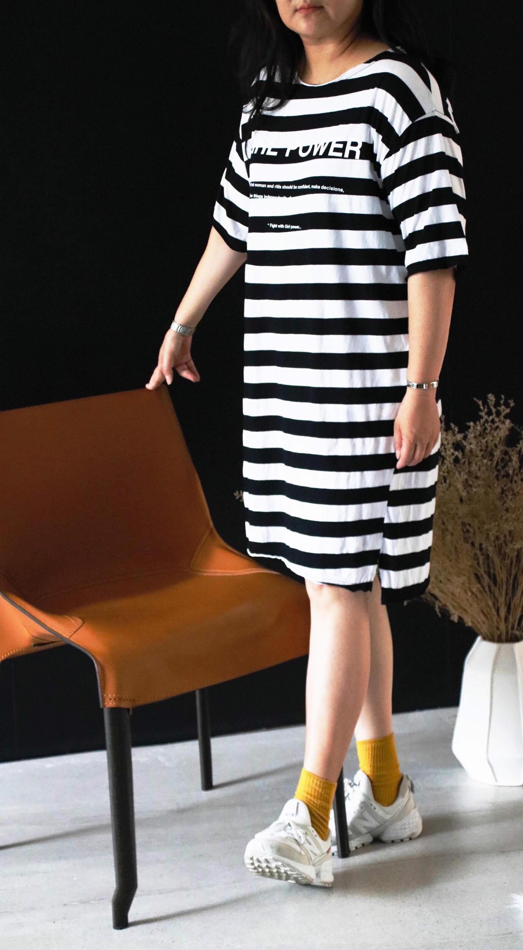 線條寬鬆洋裝 白底黑條紋/綠底藍條紋