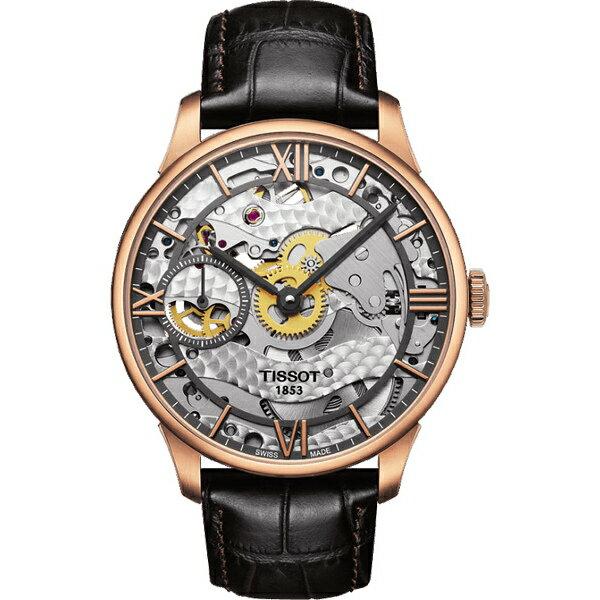 TISSOT天梭T0994053641800 杜魯爾玫瑰金鏤空手動上鍊機械腕錶/白面42mm