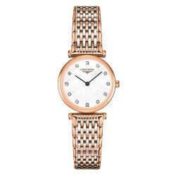 LONGINES L42091977 玫瑰金嘉嵐石英超薄真鑽腕錶/珍珠母貝面24mm