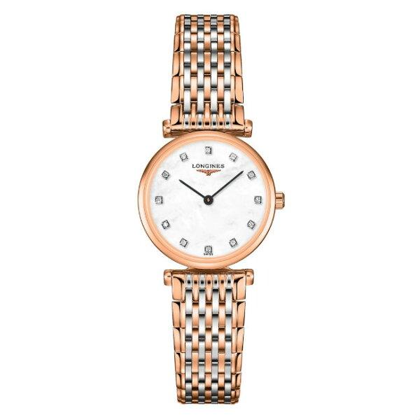 LONGINESL42091977玫瑰金嘉嵐石英超薄真鑽腕錶珍珠母貝面24mm