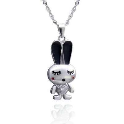 925純銀項鍊 鑲鑽吊墜~甜美可愛兔子 母親節情人節生日 女飾品73dk43~ ~~米蘭