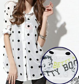襯衫 Betty Boop 繡圓點反折袖雪紡襯衫 0