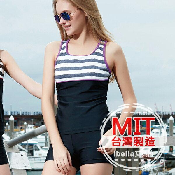 二件式泳裝 MIT 製 風條紋背心平口短褲泳衣 附帽   ~36~66~85105~1~i