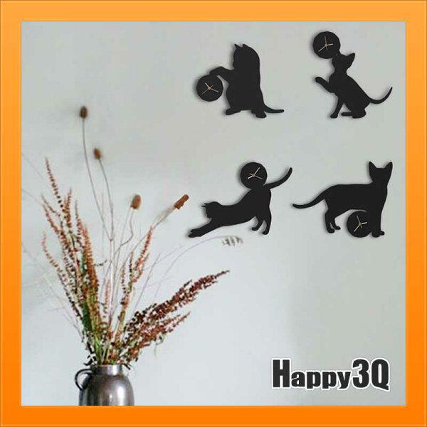 Happy Happy:小貓時鐘調皮貓掛鐘北歐時鐘極簡造型文創意剪影房間裝飾個性貓咪時鐘-黑白【AAA3305】